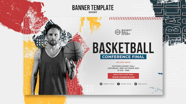 Horizontal banner template for basketball with male player