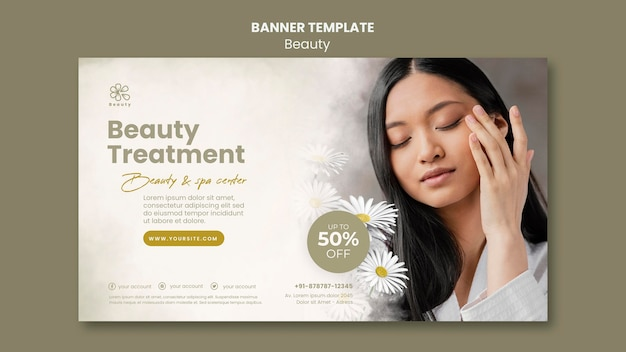 Horizontal banner template for beauty and spa with woman and chamomile flowers