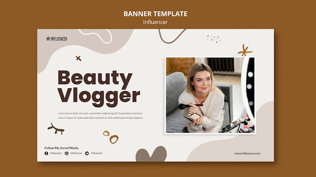 Horizontal banner template for beauty vlogger with young woman Free Psd