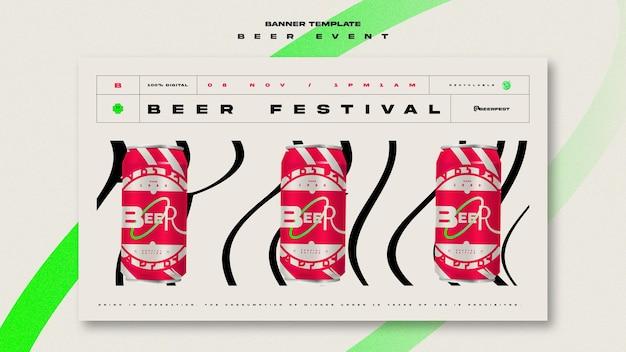 Horizontal banner template for beer festival