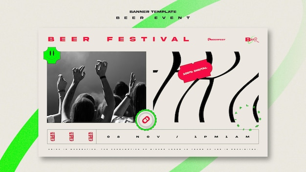 Horizontal banner template for beer festival