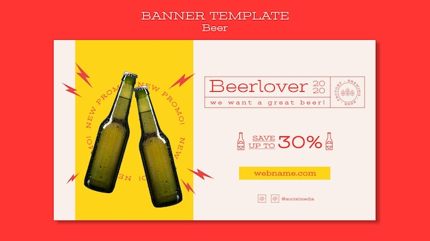 Horizontal banner template for beer lovers