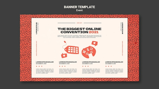 Modello di banner orizzontale per la più grande convezione online 2021