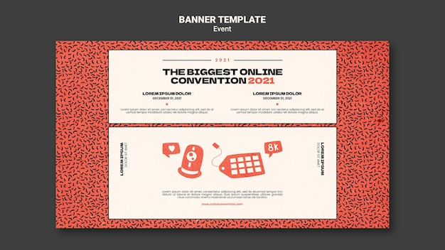 Horizontal banner template for biggest online convection 2021