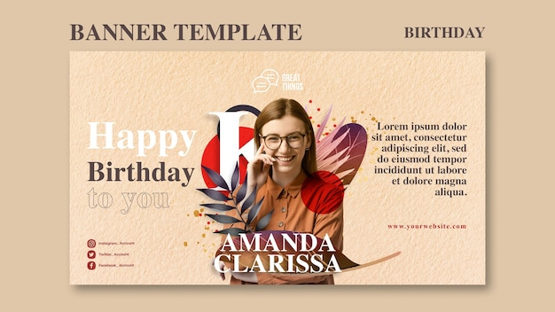 Horizontal banner template for birthday anniversary celebration