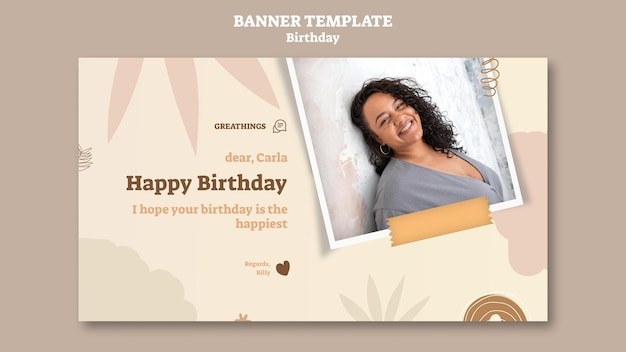 Horizontal banner template for birthday celebration