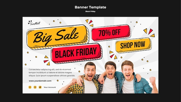 Horizontal banner template for black friday sale