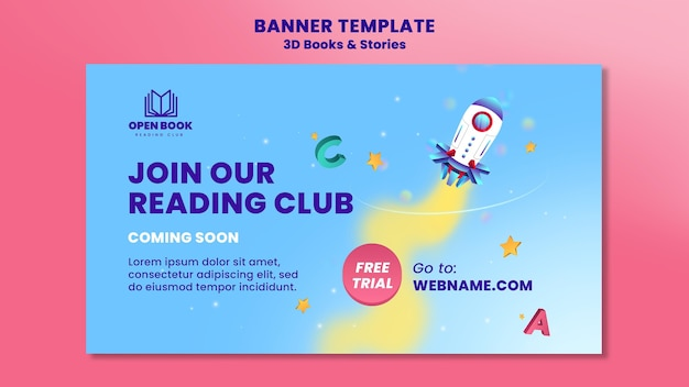 Horizontal banner template for books with stories and letters