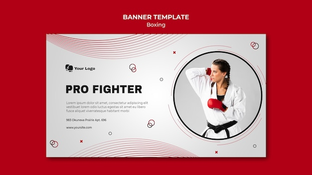 Horizontal banner template for boxing training