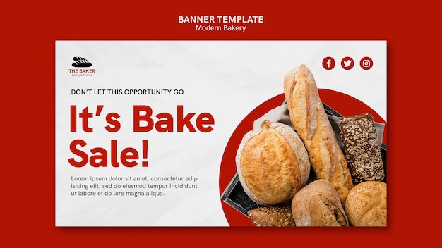 Horizontal banner template for bread cooking business
