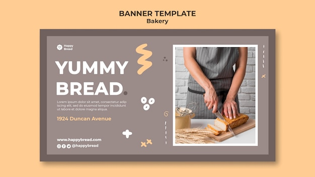 Horizontal banner template for bread shop