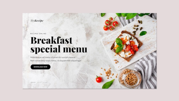 Horizontal banner template for breakfast food