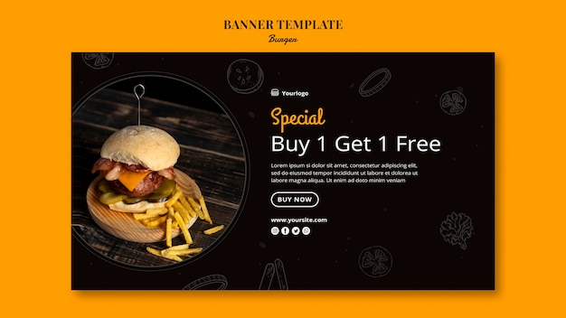 Horizontal banner template for burger bistro