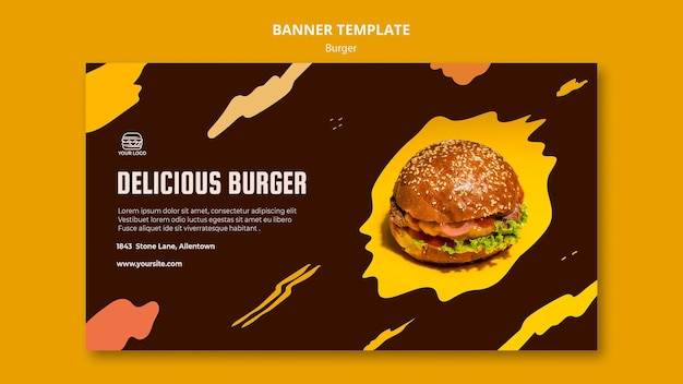 Horizontal banner template for burger restaurant
