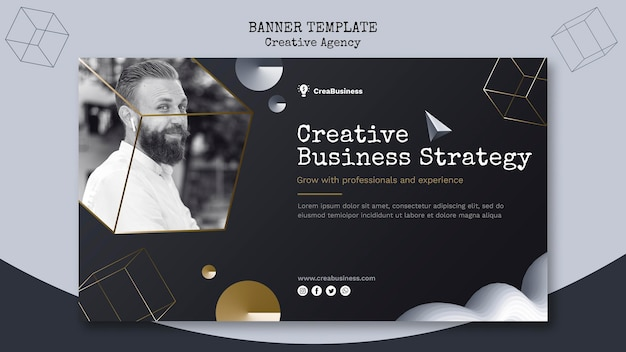Horizontal banner template for business partnering company
