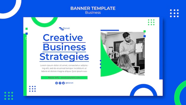 Horizontal banner template for business solution with monochrome photo