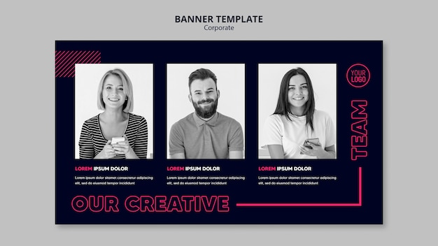 Horizontal banner template for business team