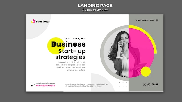 Horizontal banner template for businesswoman