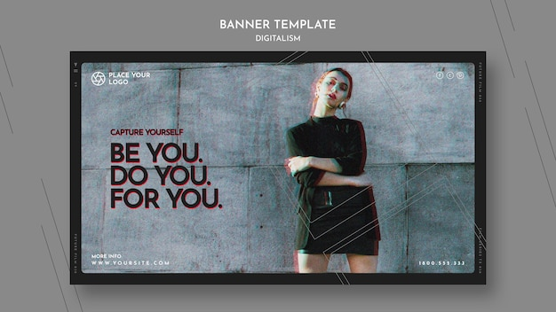 Horizontal banner template for capture yourself theme