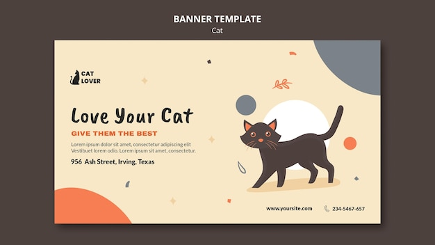 Horizontal banner template for cat adoption