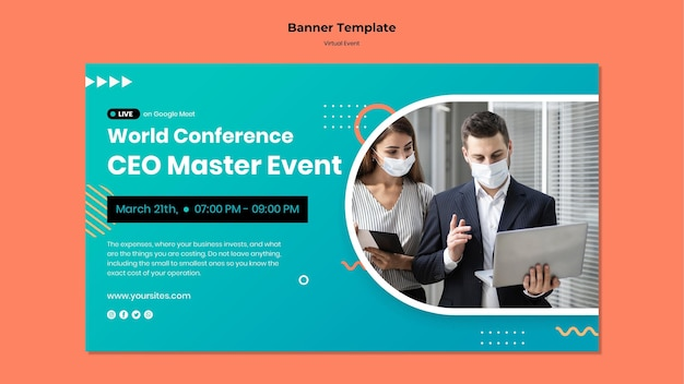 Horizontal banner template for ceo master event conference Free Psd