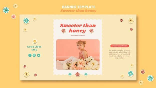 Horizontal banner template for children with flowers