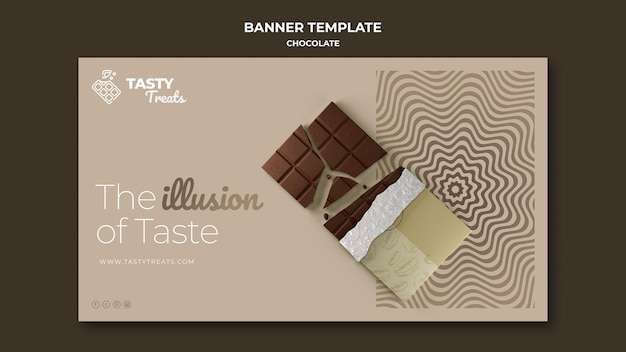 Horizontal banner template for chocolate