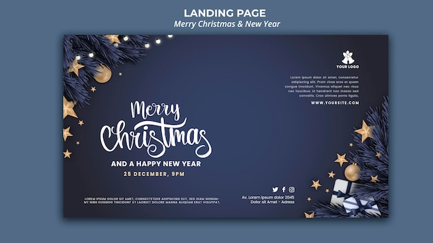 Horizontal banner template for christmas and new year