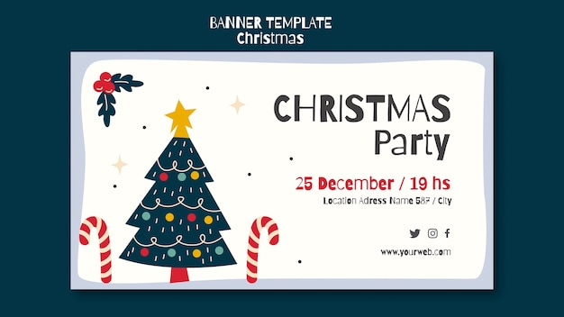Horizontal banner template for christmas party