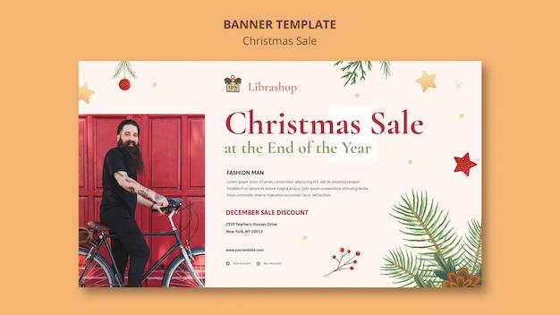 Modello di banner orizzontale per la vendita di natale