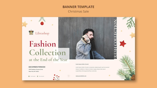 Horizontal banner template for christmas sale