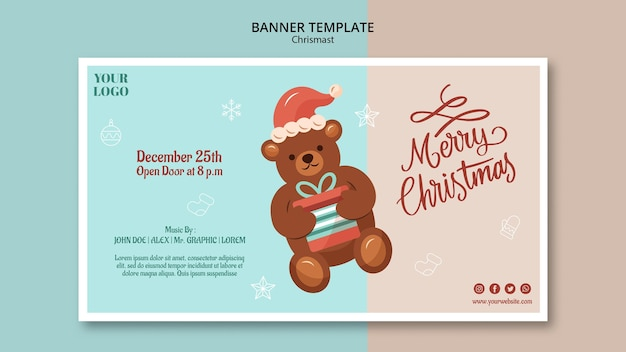 Horizontal banner template for christmas with bear