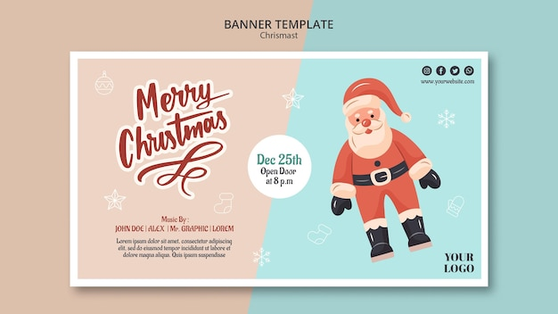 Horizontal banner template for christmas with santa claus