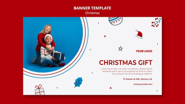Horizontal banner template for christmas