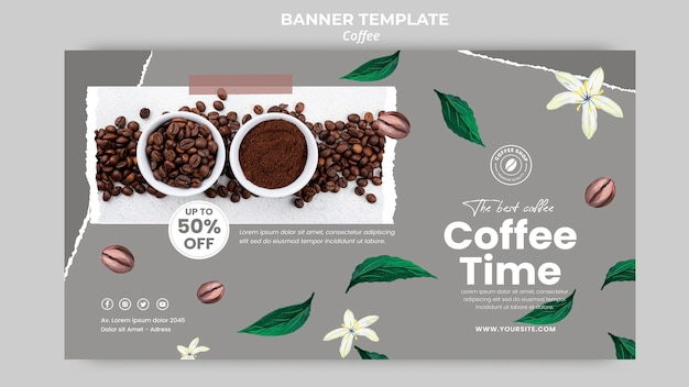 Modello di banner orizzontale per caffè