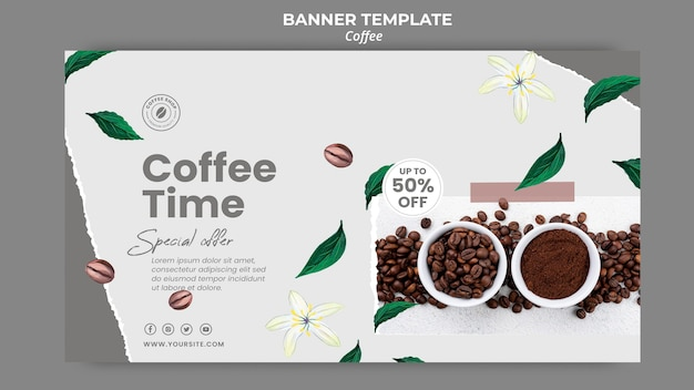 Horizontal banner template for coffee