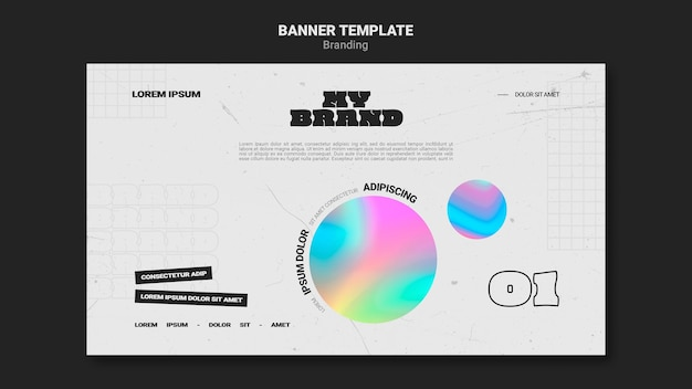 Horizontal banner template for company branding with colorful circle shape