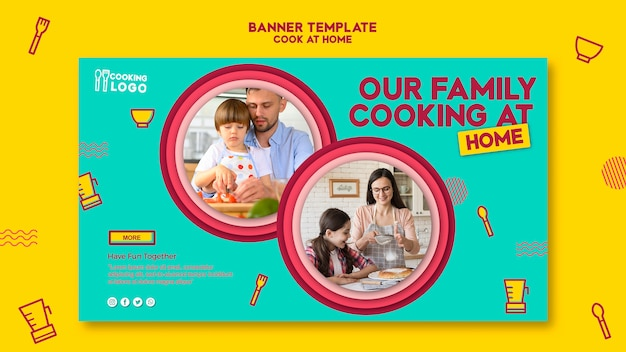 Horizontal banner template for cooking at home