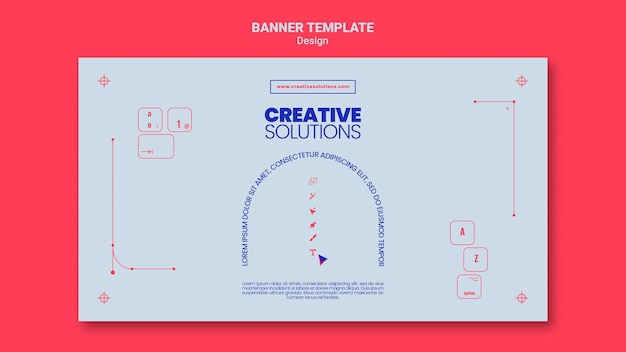Horizontal banner template for creative business solutions