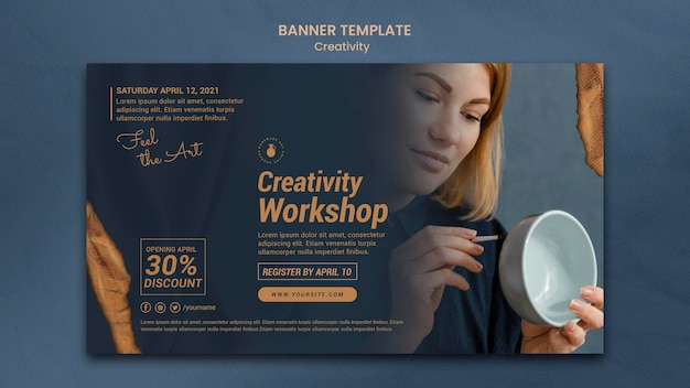 Horizontal banner template for creative pottery workshop with woman