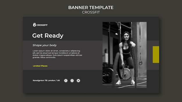 Horizontal banner template for crossfit exercise