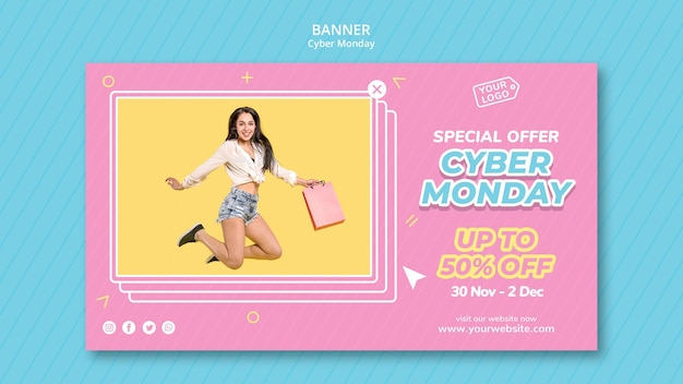Horizontal banner template for cyber monday shopping
