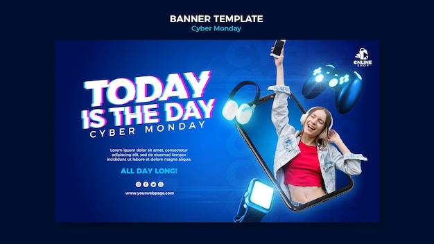 Horizontal banner template for cyber monday with woman and items