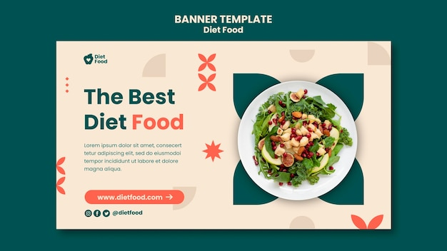Horizontal banner template for diet food