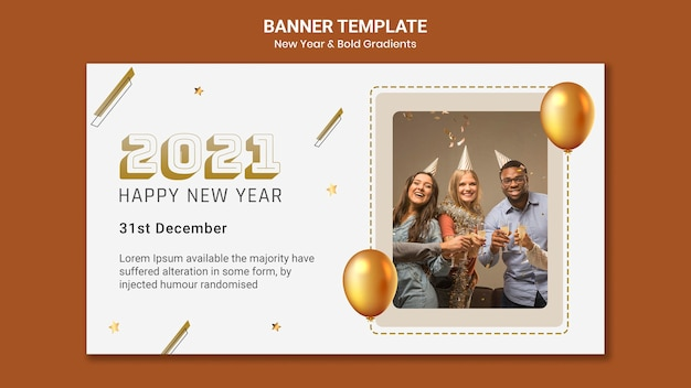 Horizontal banner template for dj party with people and balloons