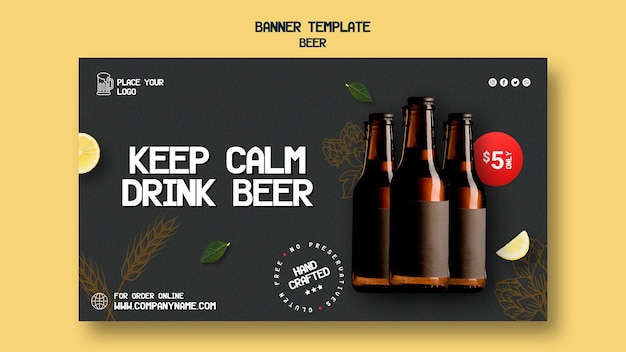 Horizontal banner template for drinking beer