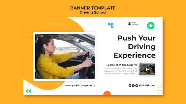 Horizontal banner template for driving school with woman and car