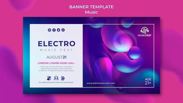 Modello di banner orizzontale per festival di musica elettronica con forme di effetto liquido al neon