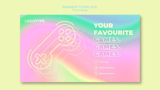 Horizontal banner template for electronic technology