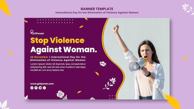 Horizontal banner template for elimination of violence against women